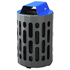 Steel Outdoor Waste Receptacle Blue/Grey Finish