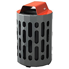 Steel Outdoor Waste Receptacle Red/Grey Finish