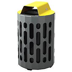 Steel Outdoor Waste Receptacle Yellow/Grey Finish
