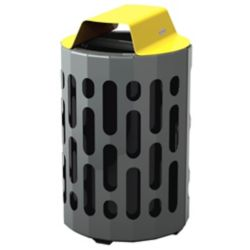 Frost Steel Outdoor Waste Receptacle Yellow/Grey Finish