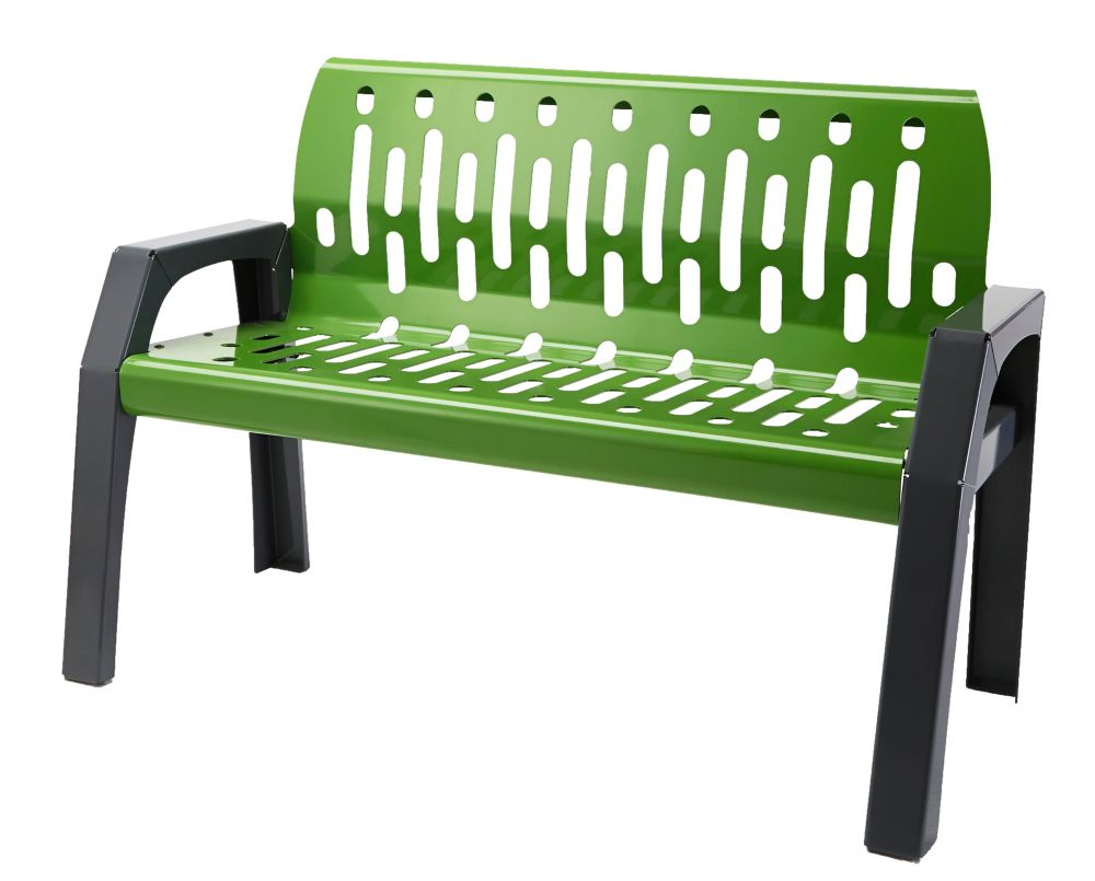 Frost Steel 4 ft. Outdoor Bench in Green/Grey Finish