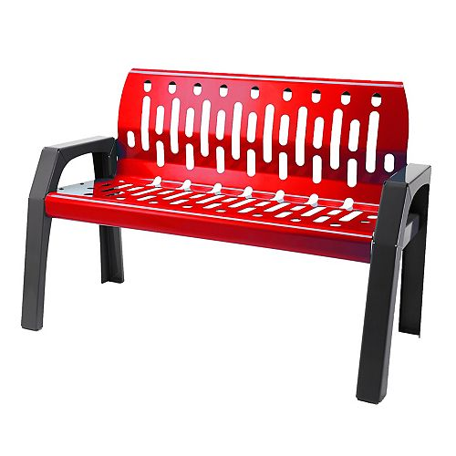 Frost Steel 4 Feet Outdoor Bench Red/Grey Finish