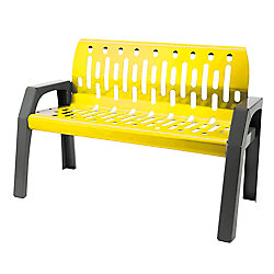 Frost Steel 4 Feet Outdoor Bench Yellow/Grey Finish