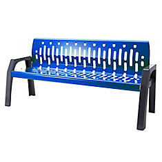 Steel 6 Feet Outdoor Bench Blue/Grey Finish