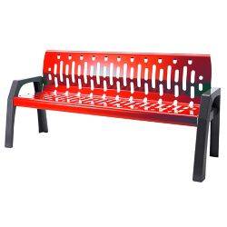 Frost Steel 6 Feet Outdoor Bench Red/Grey Finish