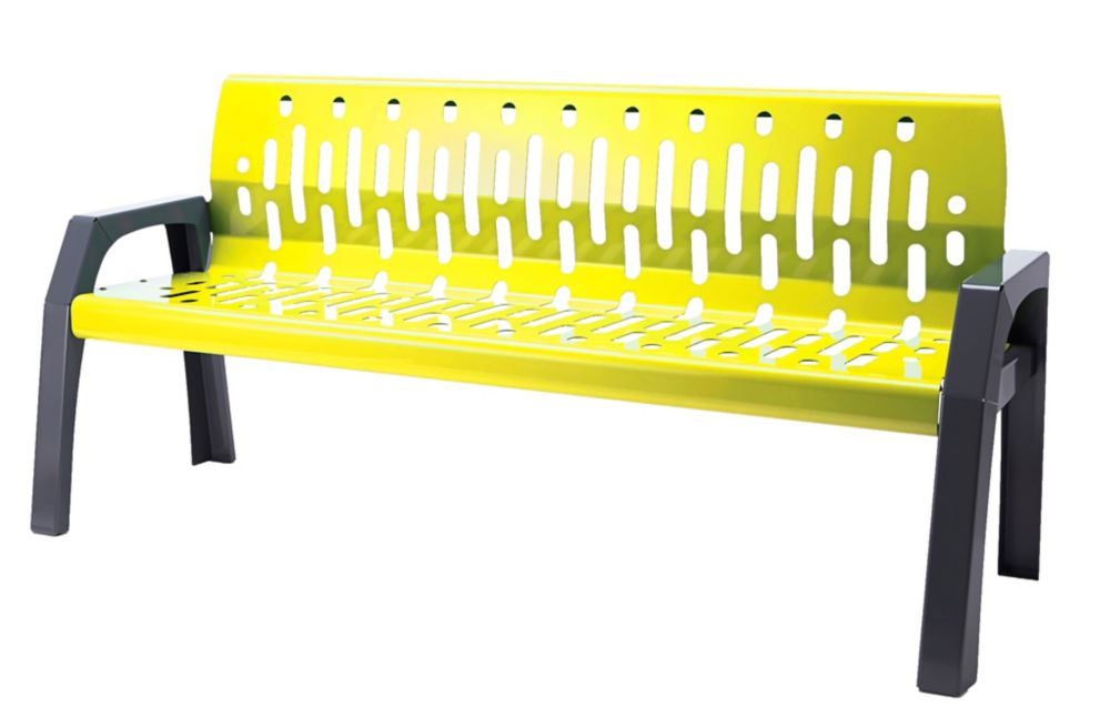 Frost Steel 6 Feet Outdoor Bench Yellow/Grey Finish