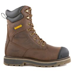 DEWALT Industrial Footwear Impact Men 8 in. Size 10(M) Dark Brown Leather Aluminum Toe/ Composite Plate Work Boot