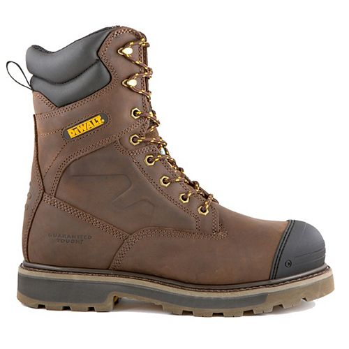 DEWALT Industrial Footwear Impact Men 8 in. Size 12(M) Dark Brown Leather Aluminum Toe/ Composite Plate Work Boot