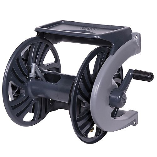 Ames Grey Poly Wall-Mount Hose Reel, 225- ft. Hose Capacity