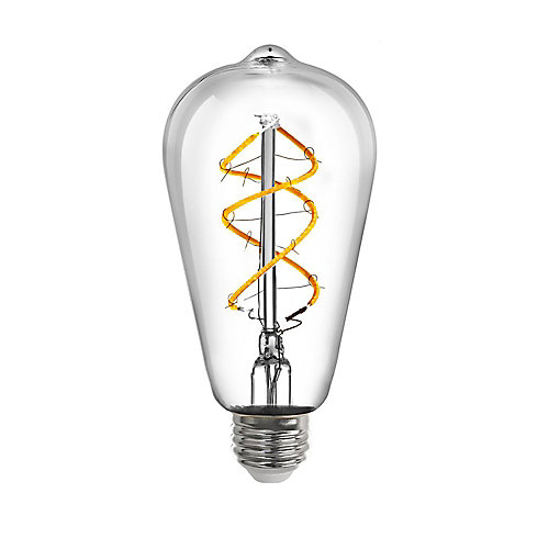 40W Equivalent Soft White (2150K) ST19 Dimmable Spiral Filament LED Vintage Style Clear Light Bulb