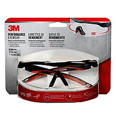 Lunettes de grand rendement 3M(MC), monture noire et rouge, verres transparents