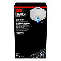 Cool Flow Masque respiratoire jetable 3M en fibre de verre, à valve, blanc, (paquet de 15)