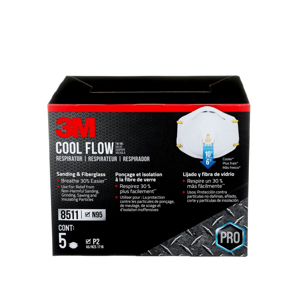 Cool Flow 3M Cool Flow Sanding and Fibreglass Disposable Respirator,valved, white, 5/pack