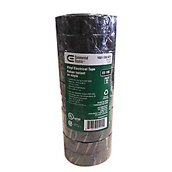 Commercial Electric 3/4-inch x 60 ft. Vinyl Electrical Tape, Black (10-Pack)