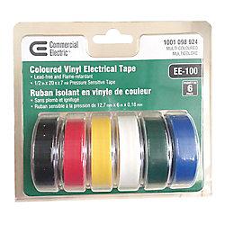 Commercial Electric Ruban isolant en vinyle, multicolore, 1/2po x 20pi (paquet de 6)
