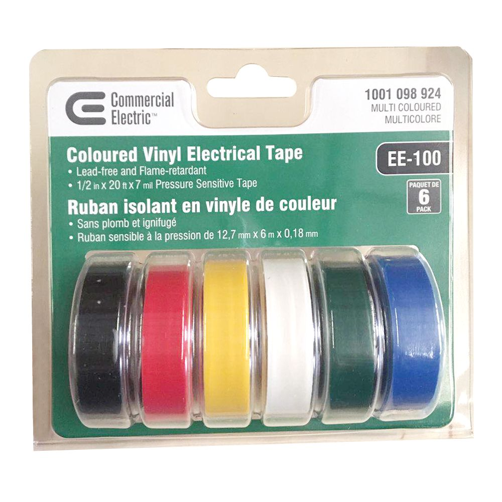 Commercial Electric 1/2-inch x 20 ft. Vinyl Electrical Tape, Multi Coloured (6-Pack)