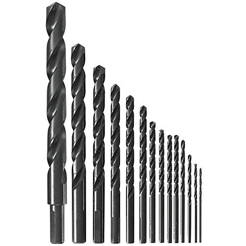14-Piece Black Oxide Metal Drill Bit Set