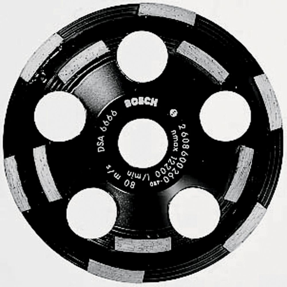 Bosch 5-inch Double Row Segmented Diamond Cup Wheel for Abrasive Materials