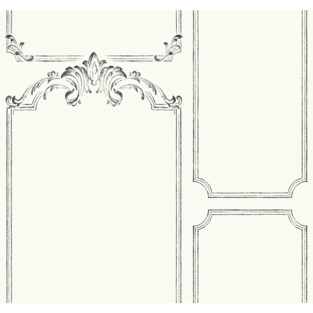 Joanna Gaines Magnolia Home 60.75 sq. ft French Panel White Removable Wallpaper