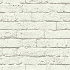 Magnolia Home 56 sq. ft Brick-And-Mortar White Removable Wallpaper