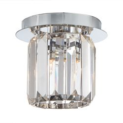 Home Decorators Collection Miette 1-Light Chrome Flushmount Ceiling Light with Crystal Shade