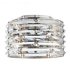 2-Light Curved Crystal Flush mount