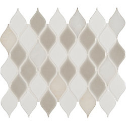 MSI Stone ULC Louvre Blanco Pattern 12-inch x 12-inch x 8 mm Porcelain Stone Blend Mesh-Mounted Mosaic Tile