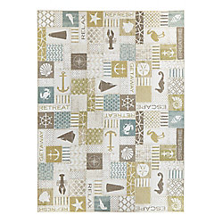 Mohawk Home Ocean Panel Aqua 8 ft. x 8 ft. Square Area Rug