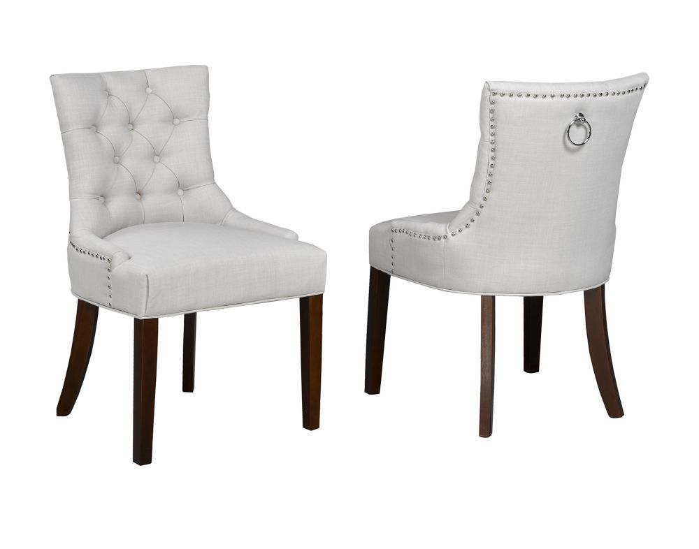 Brassex Inc. Accent Chair with Nail-Head Trim, Set of 2, Beige