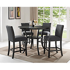 Indira 5-Piece Pub Set, Table + 4 Stools, Grey