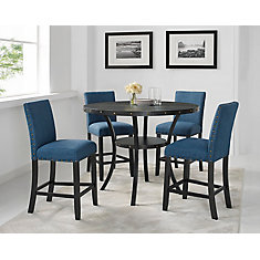 Indira 5-Piece Pub Set, Table + 4 Stools, Blue