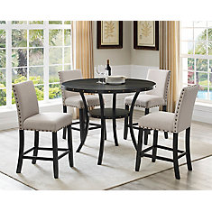 Indira 5-Piece Pub Set, Table + 4 Stools, Beige