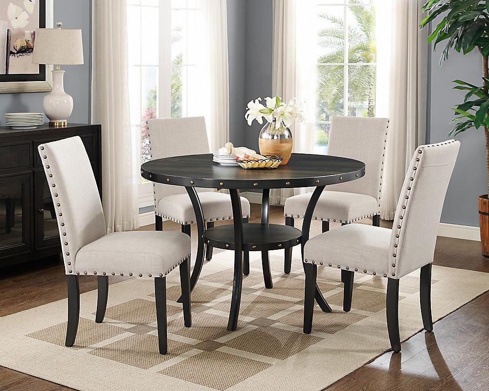 Astonishing Indira 5 Piece Dining Set Table 4 Chairs Beige Download Free Architecture Designs Parabritishbridgeorg
