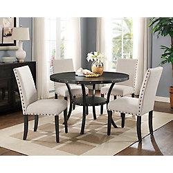 Brassex Inc. Indira 5-Piece Dining Set, Table + 4 Chairs, Beige