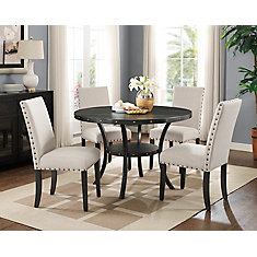 Indira 5-Piece Dining Set, Table + 4 Chairs, Beige