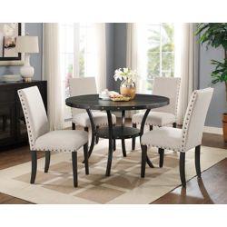 Brassex Inc. Set de salle à manger 5 pièces Indira, table + 4 chaises, Beige