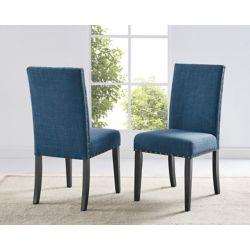 Brassex Inc. Chaise de salle à manger Indira avec garniture tête de clou, ensemble de 2, Bleu