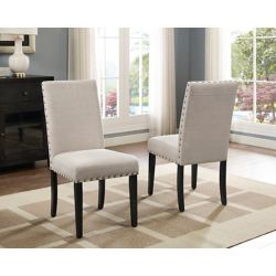 Brassex Inc. Indira Dining Chairl with Nail-Head Trim in Beige (Set of 2)