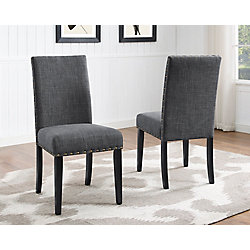 Brassex Inc. Indira Dining Chair with Nail-Head Trim in Grey (Set of 2)
