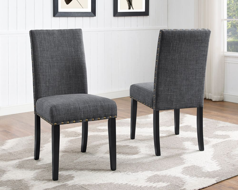 Brassex Inc. Indira Dining Chair with Nail-Head Trim, Set of 2, Grey