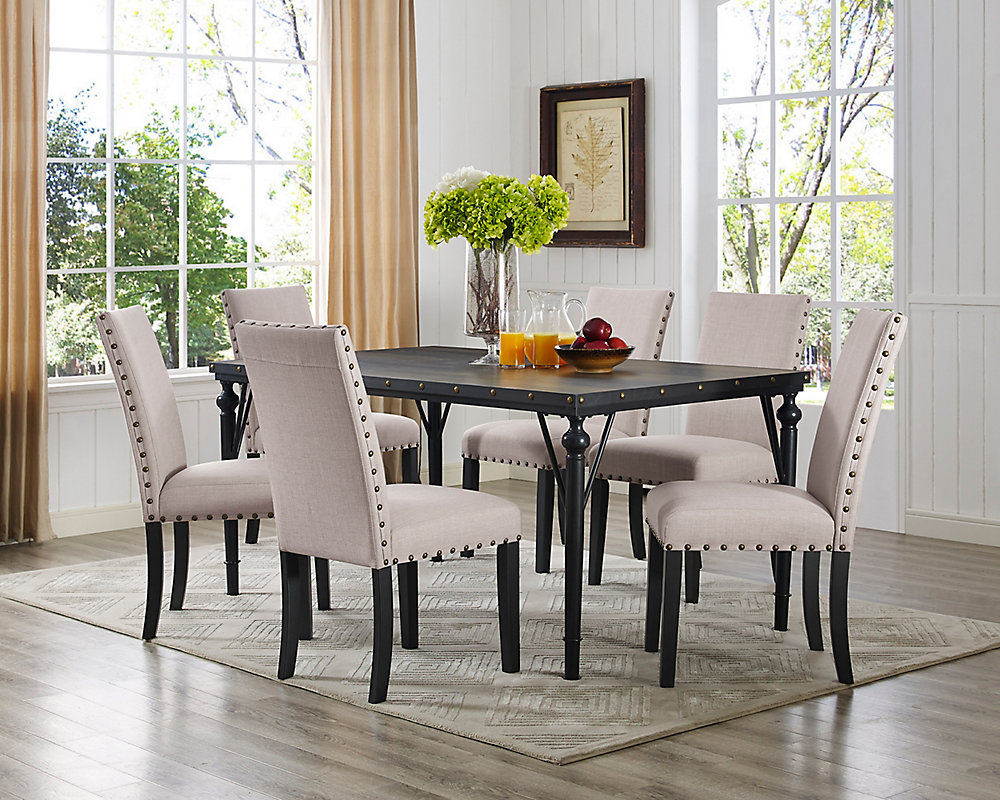 Arianna 7 Piece Dining Set Table 6 Chairs Beige