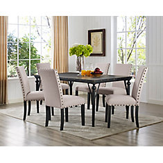 Arianna 7-Piece Dining Set, Table + 6 Chairs, Beige