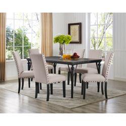Brassex Inc. Set de salle à manger 7 pièces Indira, table + 6 chaises, Beige