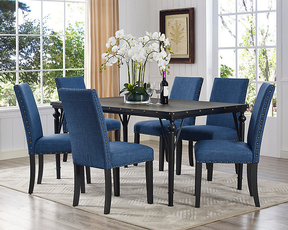 Arianna 7-Piece Dining Set, Table + 6 Chairs, Blue