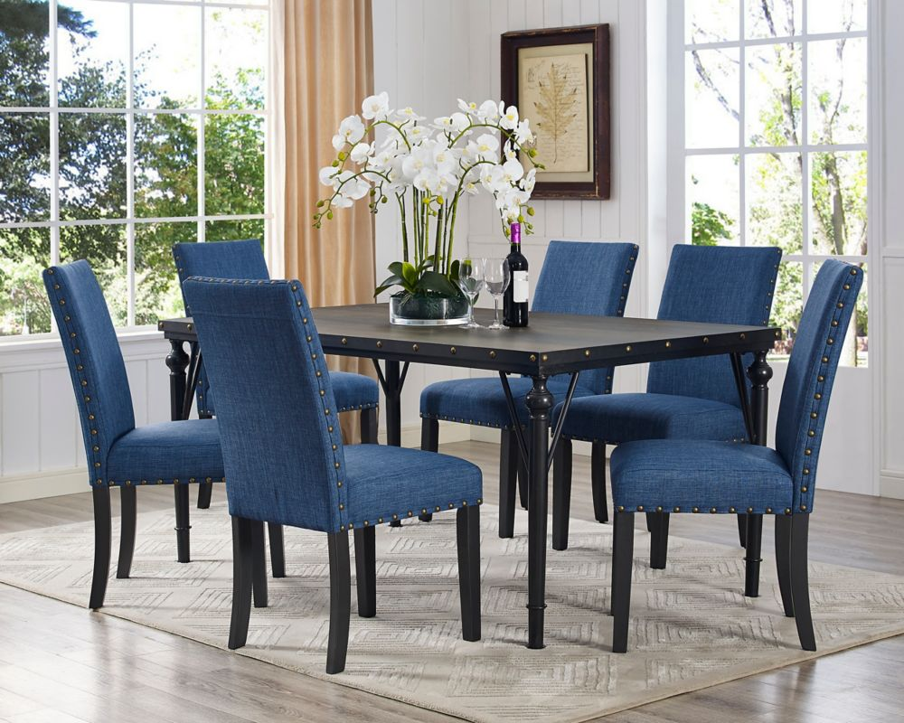 Brassex Inc. Arianna 7-Piece Dining Set, Table + 6 Chairs, Blue