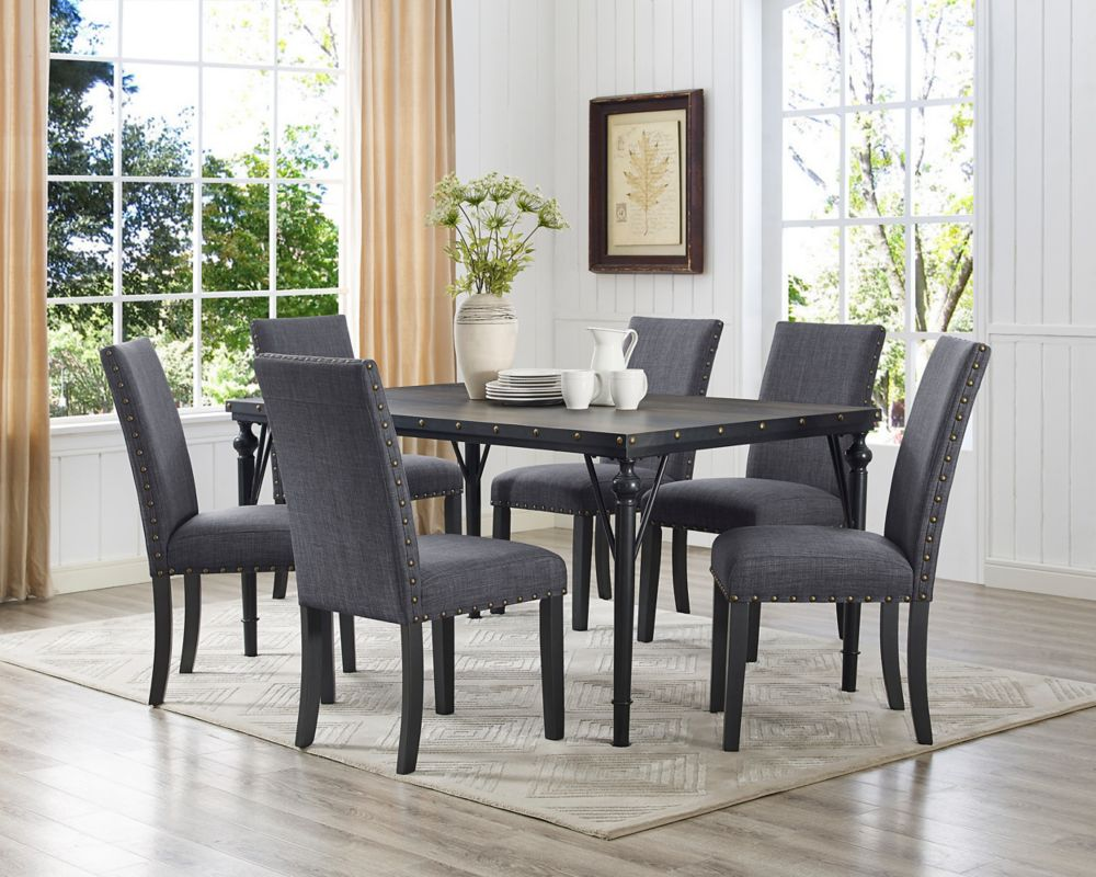 Brassex Inc Arianna 7 Piece Dining Set Table 6 Chairs Grey