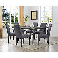 Arianna 7-Piece Dining Set, Table + 6 Chairs, Grey