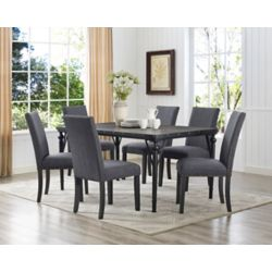 Brassex Inc. Arianna 7-Piece Dining Set, Table + 6 Chairs, Grey