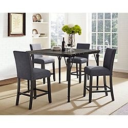 Brassex Inc. Arianna 5-Piece Pub Set, Table + 4 Stools, Grey
