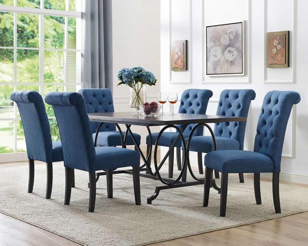 Brassex Inc Soho 7 Piece Dining Set Table 6 Chairs Blue